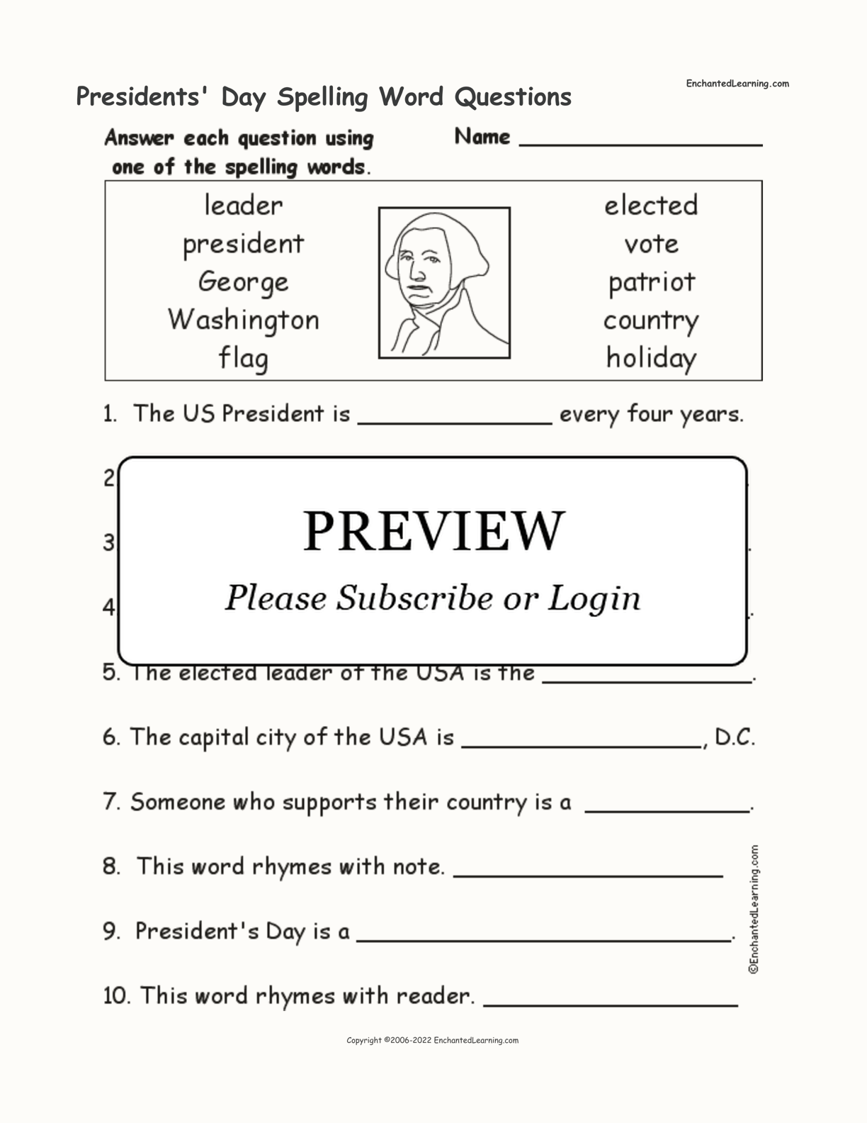 Presidents Day Spelling Word Questions