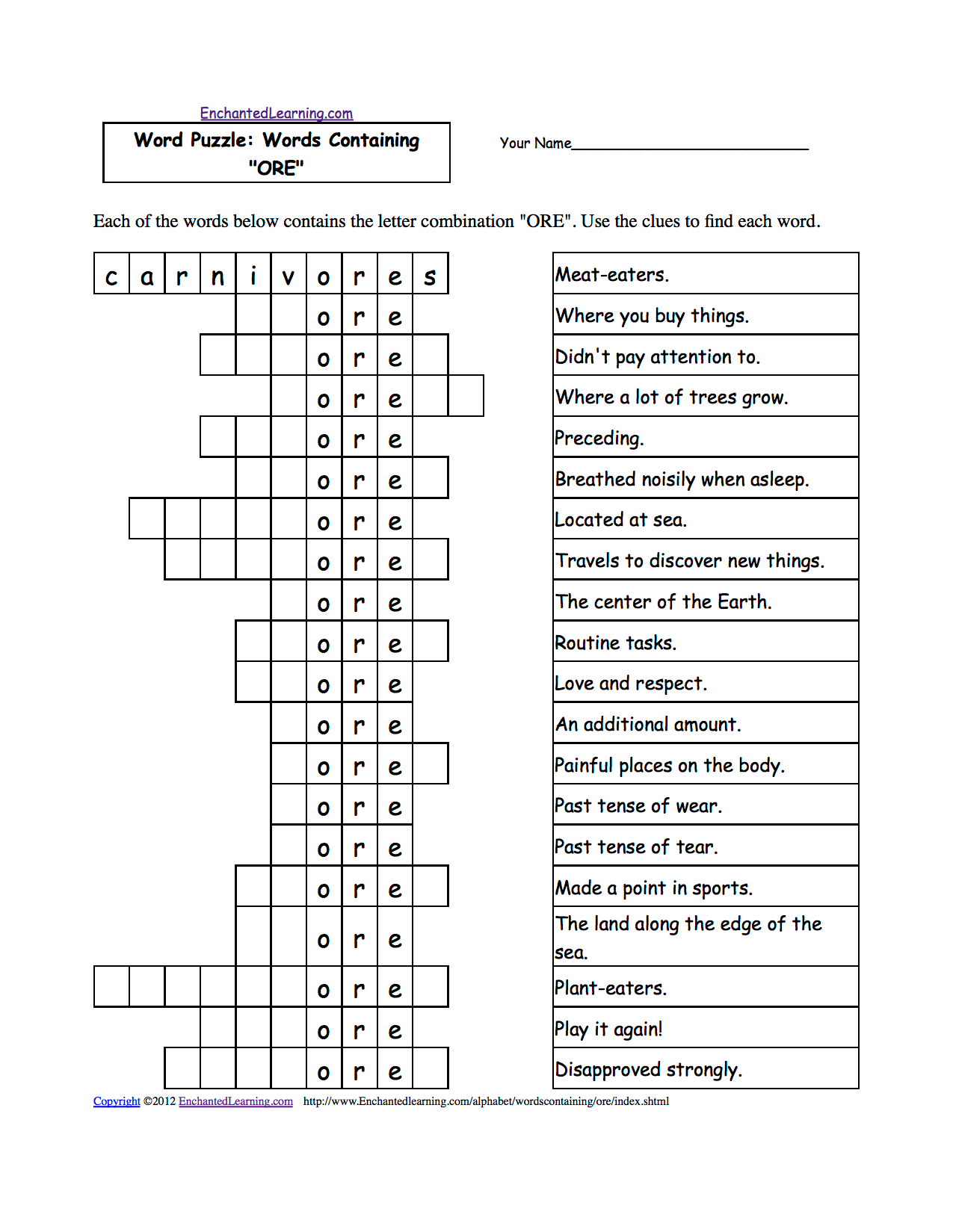 Word Puzzles Words Containing Three Letter Combinations