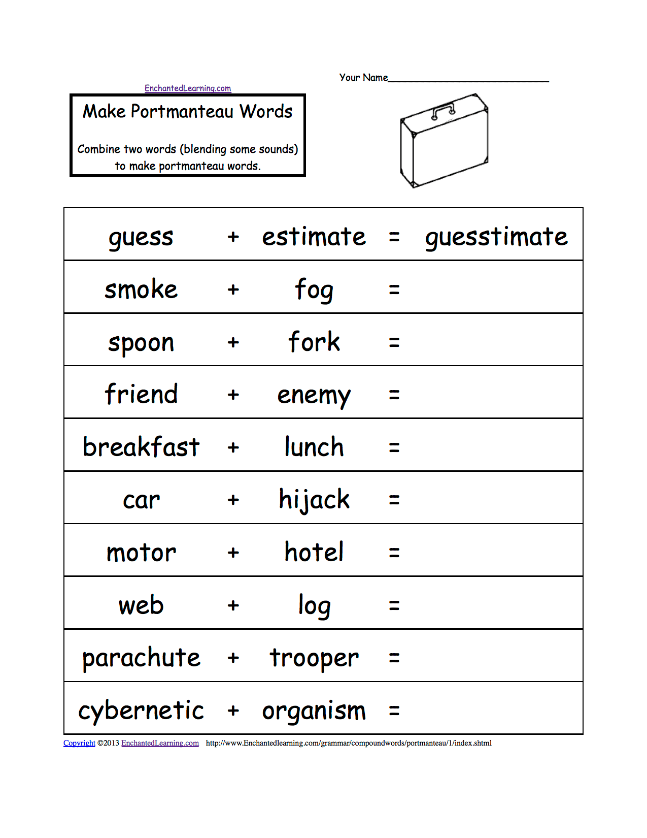 Portmanteau Words Printable Worksheets Enchantedlearning