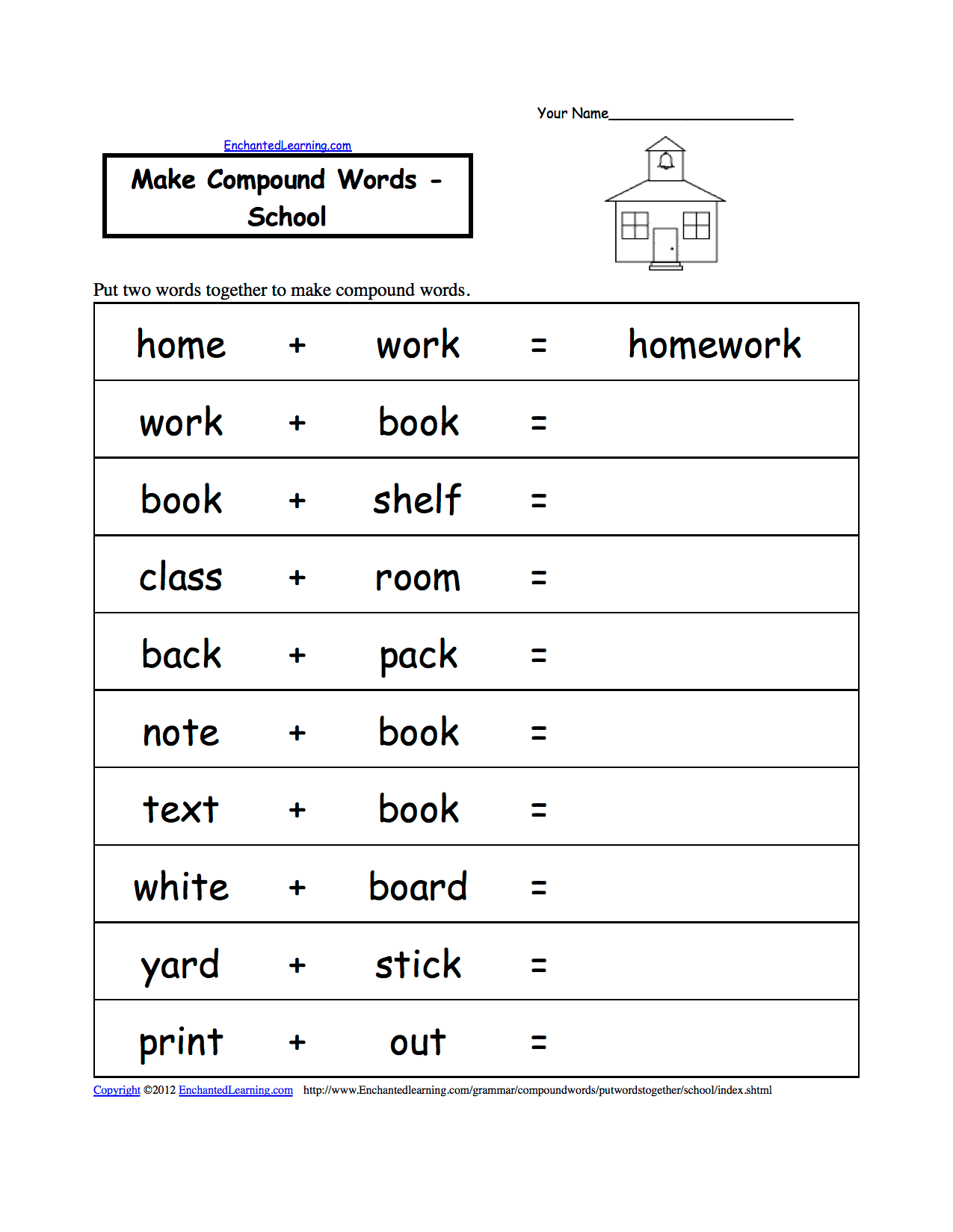 Spelling Worksheets School Theme Page At Enchantedlearningcom