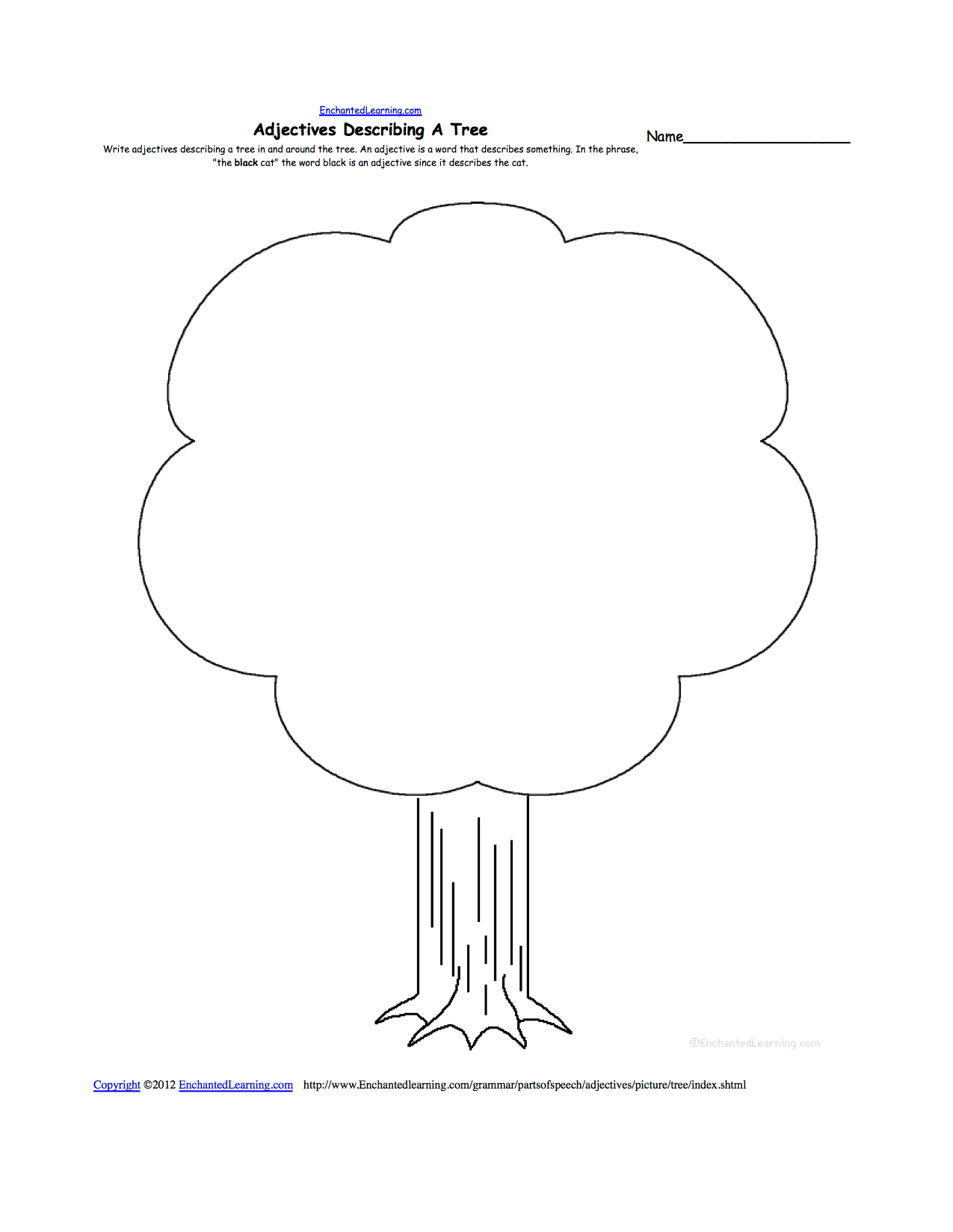 Parts Of A Tree Worksheet For Kindergarten