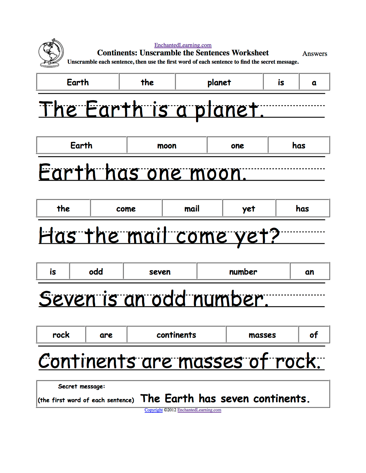Unscramble The Sentences Worksheets
