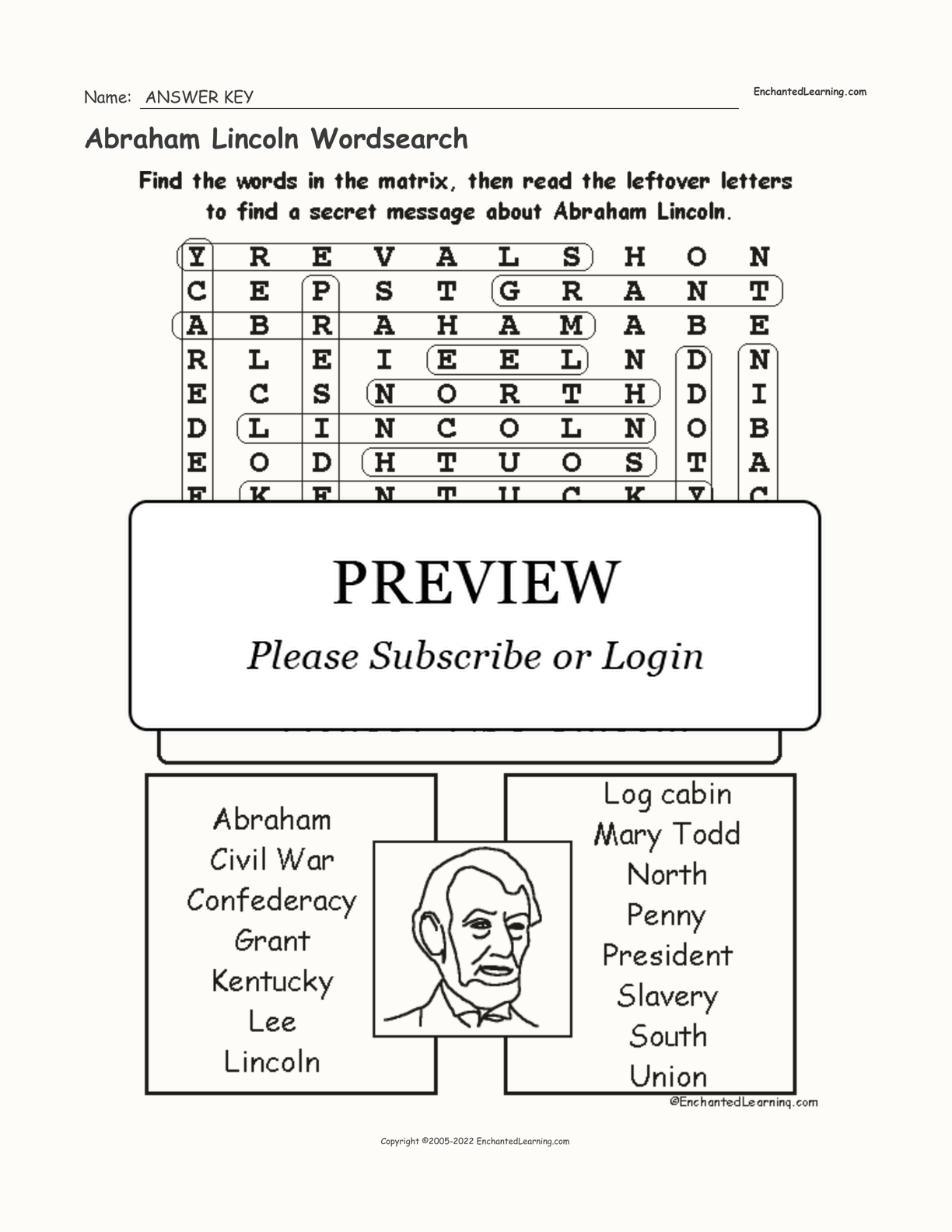 Abraham Lincoln Wordsearch