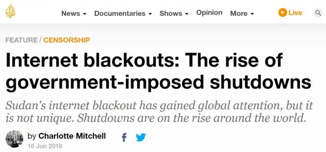 Internet blackout in Sudan