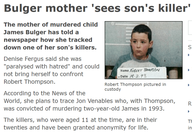 Bulger Mum See's Son's Killer Robert Thompson