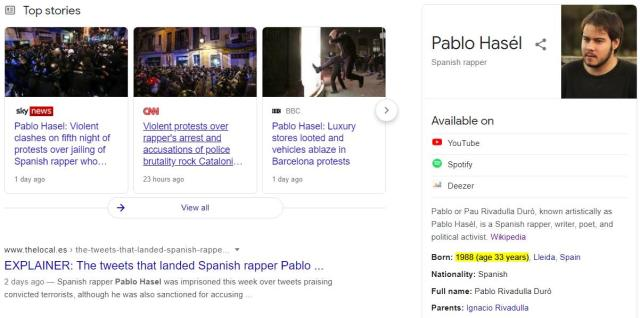 image states Pablo Hasel was born in 1988 and is now 33 years old.