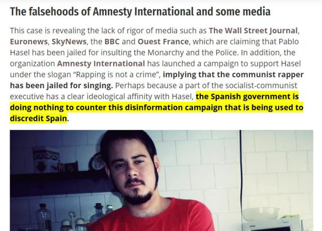 Pablo Hasel, the Spanish government is doing nothing to counter this disinformation campaign that is being used to discredit Spain.
