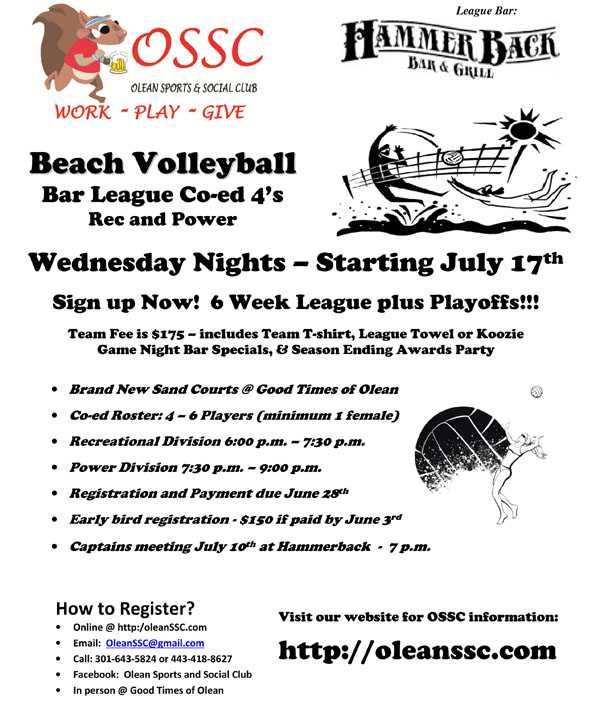 Olean Sports & Social Club Offers Beach Volleyball Leagues