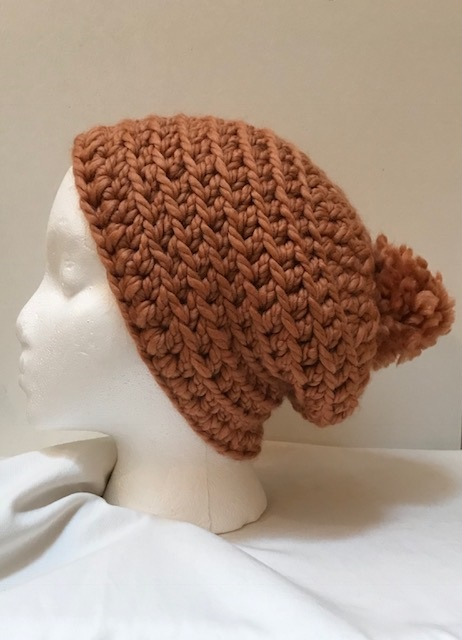 Apricot Slouch Hat with Pom