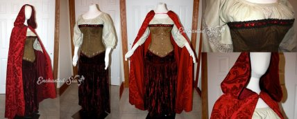 "A recreation of Ruby/Red's ensemble from ""Once Upon a Time"". The corset is made from a brown and gold ribbed fabric, trimmed with black and red lace, and decorated with gold flossing. The creamy cotton peasant blouse has chantilly lace in the center and inlaid in the sleeves. The heavy velvet cape is made from the same fabric used on the original costume, and boasts a luxurious scarlet silky lining."