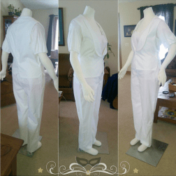 """Since this is a very elaborate project, it'll be a little while before I have anything completely ""finished"" on it. So here's a little progress! Muslin mockups for tuxedo trousers & a waistcoat (for the Phantom's ensemble)"""