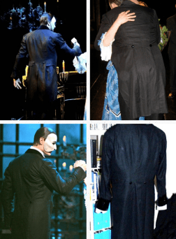 "Source: [@operafantomet, Tumblr] ""As promised: some backshots of the Phantom's black tailcoat. The seams can be figured out when looking closer at the photos. The general tailoring is fairly consisted in the various versions, but the exact placement and size of the pocket flap varies. The amount of puff on the shoulder also varies. "" 1. Seoul/World Tour, 2. Copenhagen, 3. Broadway, 4. Hamburg."