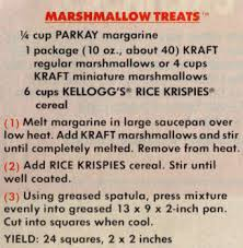"""print add showing the recipe for """"Marshmallow Treats"""" - circa late 1970's"""