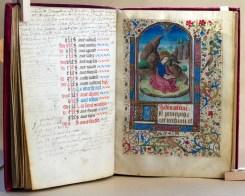 325. Livre d'heures manuscrit sur vélin, 14 enluminures. Saint-Jean sur l'île de Patmos.