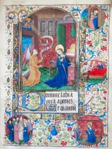 325. Livre d'heures manuscrit sur vélin, 14 enluminures. L'Annonciation.