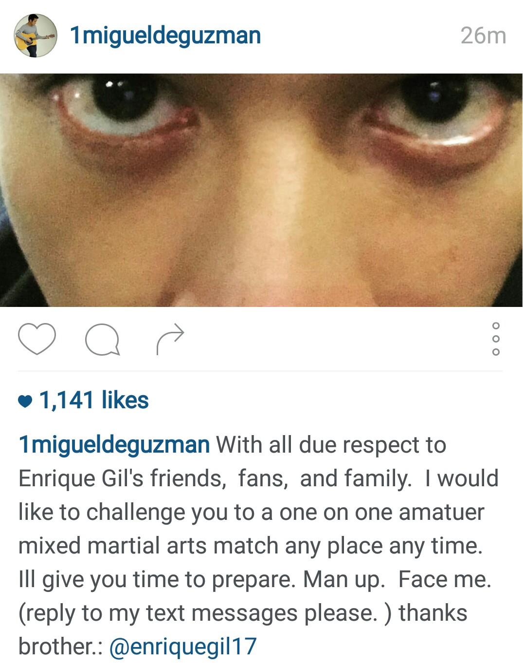 JM de Guzman challenges Enrique Gil: Man up. Face me.
