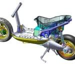 Imagen lateral del scooter Peugeot e-VIVACITY de color blanco.