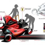 dibujo del montaje de las dos motos, dando lugar a un coche