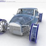 imagen frontal del Ventile Concept, donde vemos los aerogeneradores en las ruedas