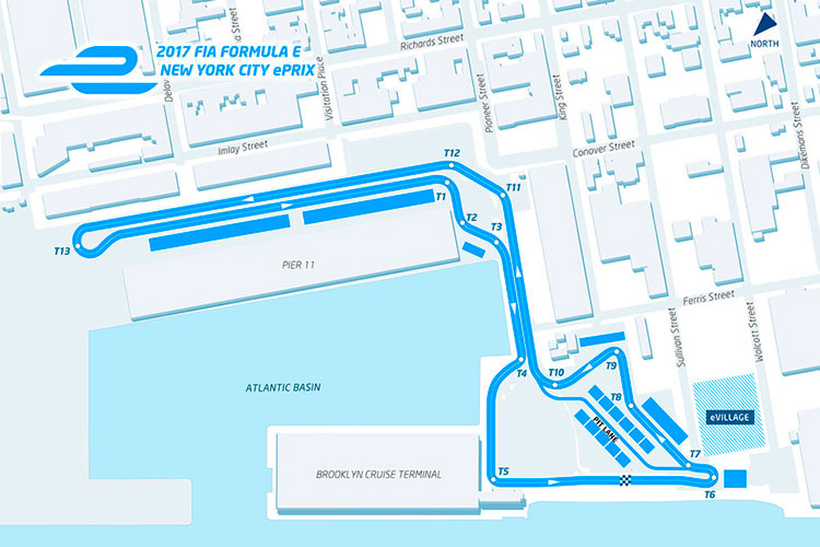 Imagen donde podemos el recorrido y la ubicación del ePrix de Fórmula E en Nueva York.