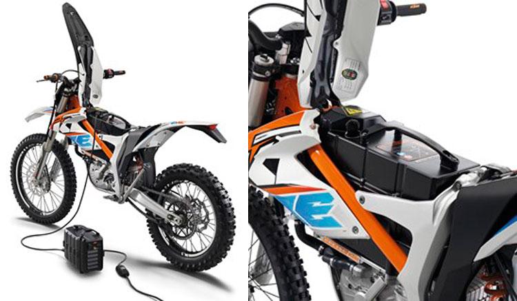 Imagen compuesta donde vemos la KTM Freeride E-XC 2016 y una ampliación de la zona donde se ubica la batería.