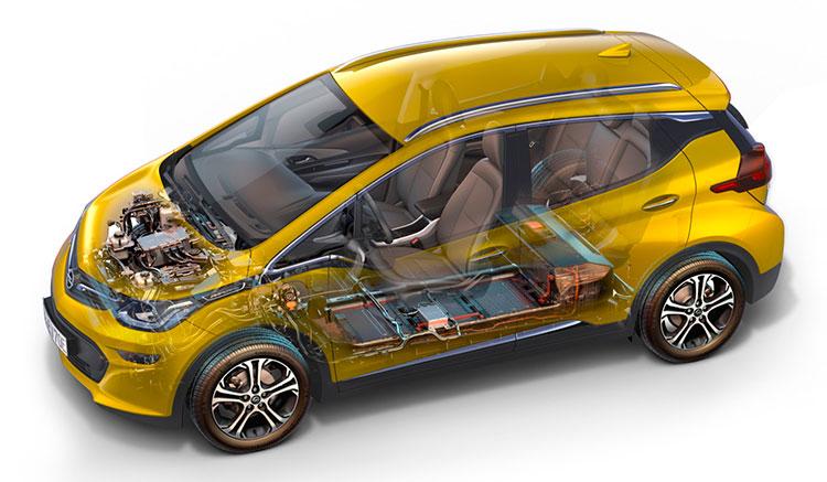 Imagen donde podemos apreciar la ubicación y distribución del motor y las baterías del Opel Ampera-e.