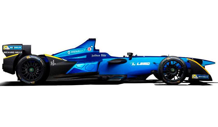 Imagen donde vemos los colores y forma del Renault Z.E.16, el monoplaza eléctrico con el que Renault competirá en la Fórmula E 2016-2017.