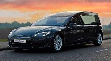 Convierten un Tesla Model S en coche fúnebre, para funerales libres de emisiones