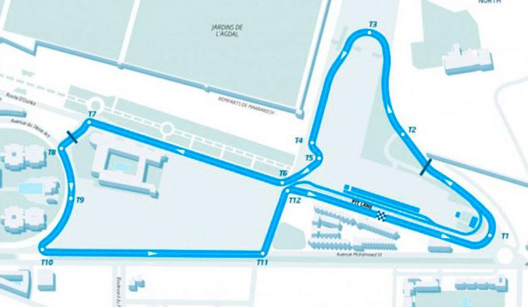 Imagen donde podemos apreciar el trazado del ePrix de Fórmula E que se celebrará en Marruecos el próximo 12 de noviembre.