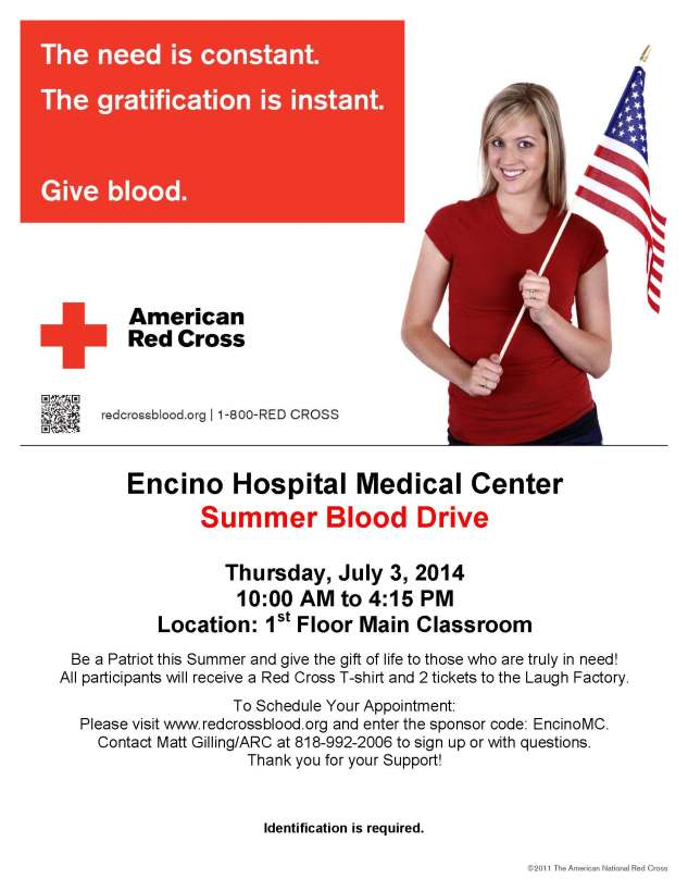 Encino Medical Center Blood Drive Flyer