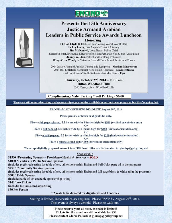 2014 The Justice Armand Arabian flyer w-honorees
