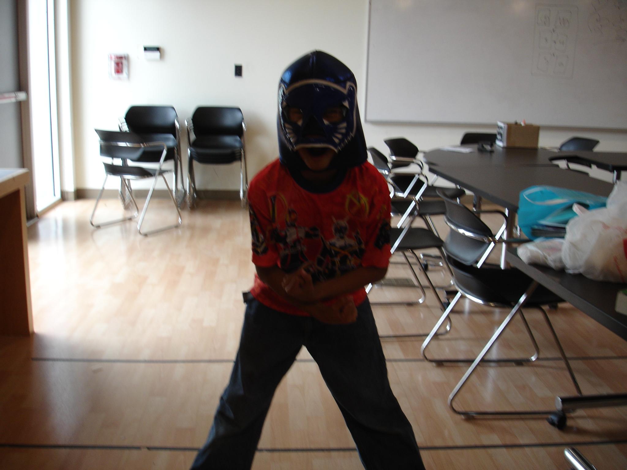 Borrowing Kenny's magical Lucha mask!