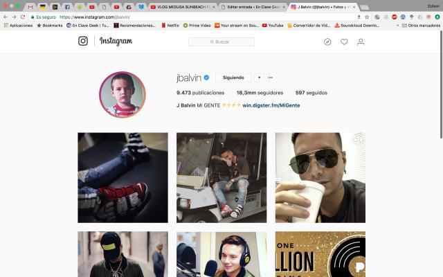 ver y descargar las historias de Instagram en nuestro PC: Instagram de J Balvin