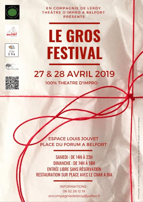 Affiche du Gros Festival d'Improvisation les 27 & 28 Avril à Belfort