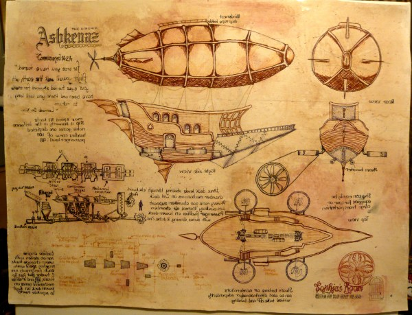 Steampunk Airship And Poster