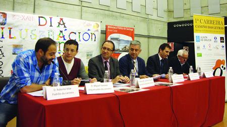 Presentación da I Carreira Camiño das Letras, apadriñada o pasado 7 de maio polo actor Roberto Vilar. GPCCE.