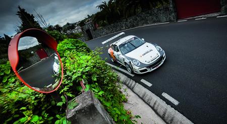 Imaxe do Porsche 911 GT3 pilotado por Pedro Burgo, do Burgo Rally Team, na proba de Santa Brígida, os días 13 e 14 de marzo. (Foto: JOSUÉ GUERRA FOTOGRAFÍA).
