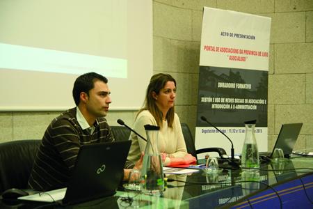 A vicepresidenta segunda da Deputación, Lara Méndez, e o director de Fondos Europeos, Pablo Rivera, durante a presentación do portal web AsociaLugo, o pasado 11 de marzo. GPDL
