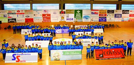 Imaxe do acto de presentación dos 10 equipos do CB Sarria, celebrado no Novo Chanto o pasado 22 de novembro. (Foto cedida).