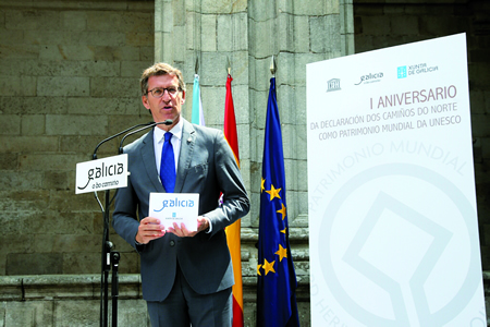 O presidente da Xunta de Galicia, Alberto Núñez Feijóo, durante a celebración do primeiro aniversario da declaración do Camiño do Norte como Patrimonio Mundial da UNESCO. GPXG.