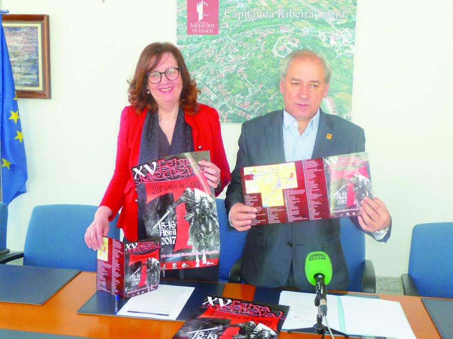 O alcalde de Monforte e a concelleira de Cultura, na presentación do programa da XV Feira Medieval, que se celebrará os días 15 e 16 de abril. GPCM