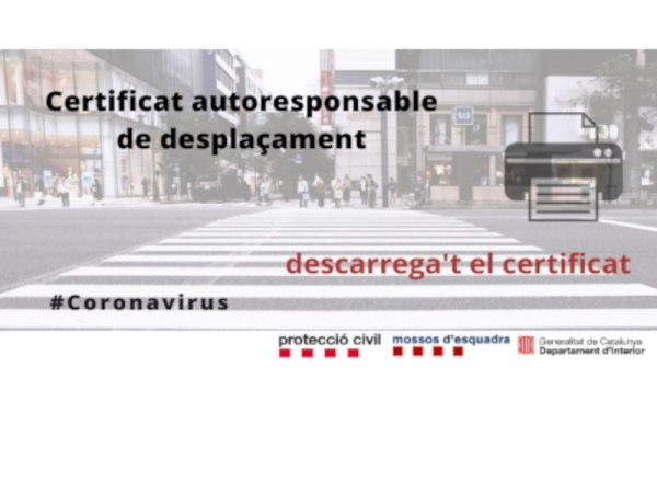 Certificat autoresponsable de desplaçaments