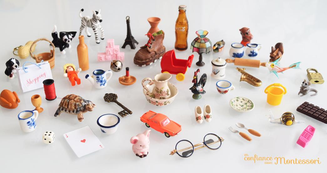 objets miniatures introduction la lecture avec montessori. Black Bedroom Furniture Sets. Home Design Ideas