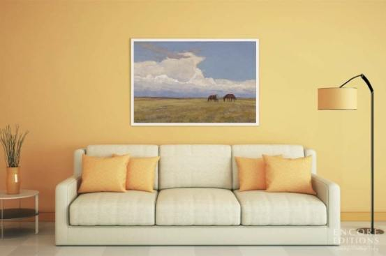 Clouds and Prairie Framed Canvas Print by Maynard Dixon