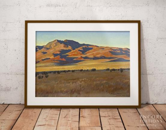 Mountains in Sunset Light Framed Paper Print by Maynard Dixon