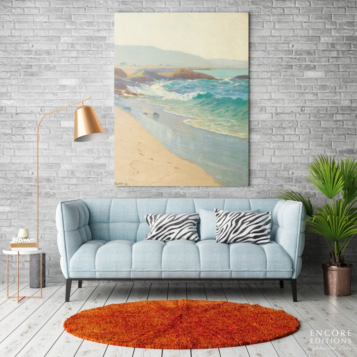Giclee canvas print hanging on a wall in a living room without a frame