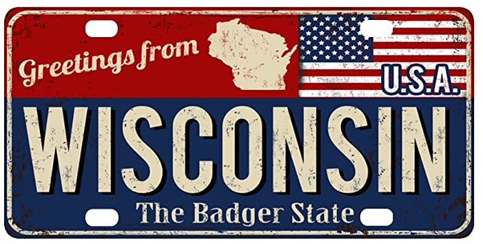 Greetings from Wisconsin, The Badger State, USA plate