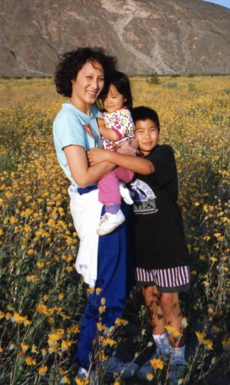 On the steppes of Mongolia, or maybe just Carlsbad, Calif., says Lew of this shot of his mom and sister.