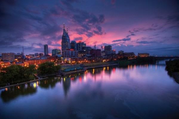 Nashville skyline on Cumberland River at night