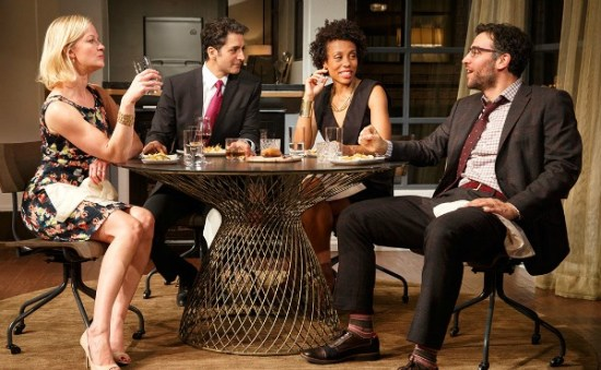 """Disgraced"" on Broadway with (from left) Gretchen Mol, Hari Dhillon, Karen Pittman and Josh Radnor. Photo: Joan Marcus"